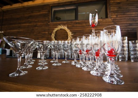 drink glasses at a wedding reception party - stock photo