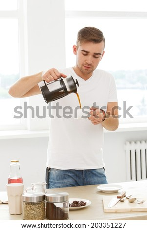 Drink, morning. Young man with coffee cup