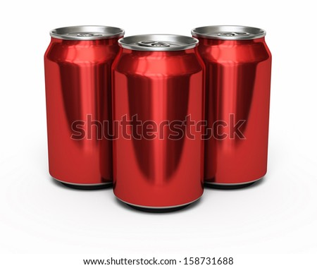 Drink Red Cans (isolated on white and clipping path) - stock photo