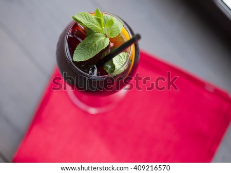 drink red with mint and lemon - stock photo