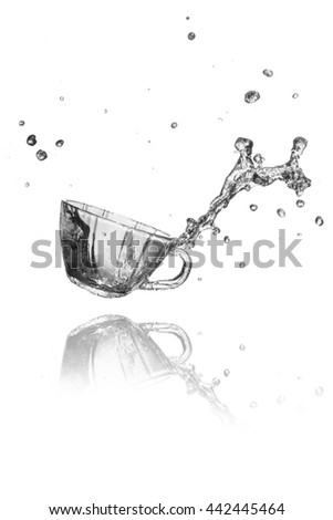 drink water  splash from glass on white background.