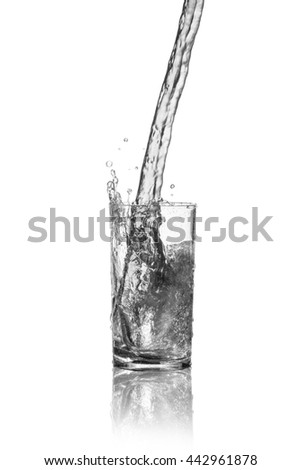 drink water splash out of glass on a white background.
