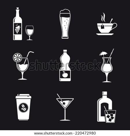 Drink White Icons - stock photo