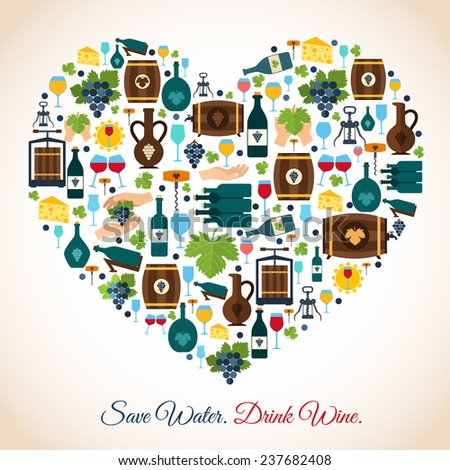 Drink wine save water decorative icons heart  illustration - stock photo