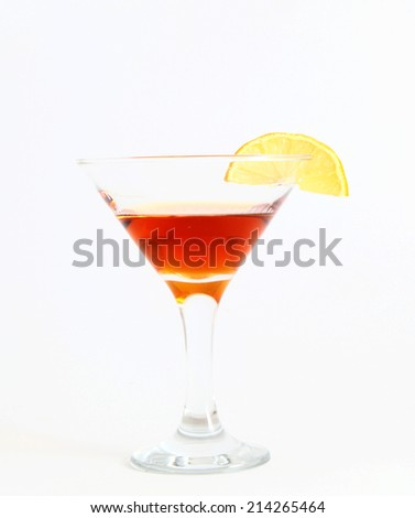 drink with lemon on white background - stock photo