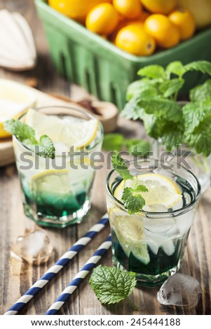 Drink with mint and lemon - stock photo
