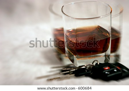 Drinking and Driving - Blurred, Double Vision of Keys and Alcohol - stock photo