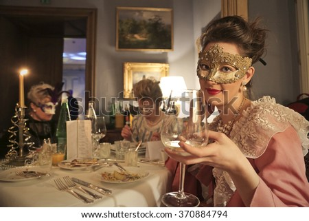 Drinking at the carnival party - stock photo