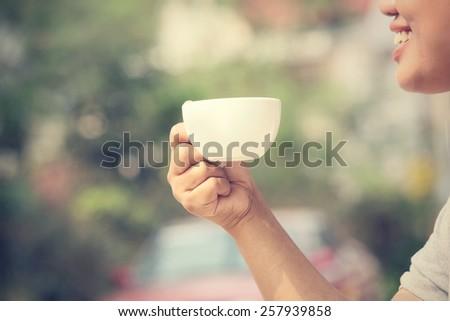 Drinking coffee - stock photo