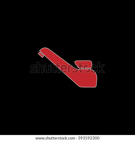 Drinking faucet. flat symbol pictogram on black background. red simple icon with white stroke - stock photo