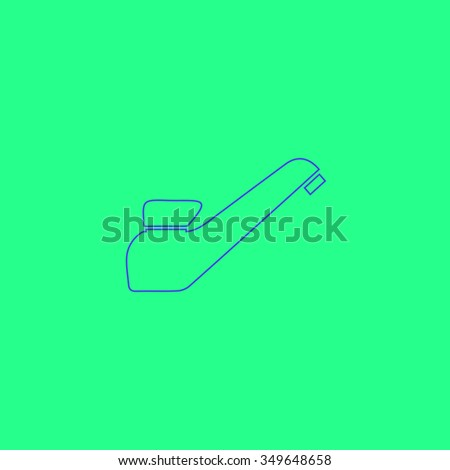 Drinking faucet. Simple outline illustration icon on green background - stock photo
