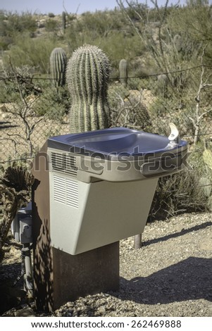 Drinking fountain by saguaro cactus in Sonoran Desert of southern Arizona - stock photo