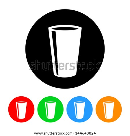 Drinking Glass Icon with Color Variations.  Raster version, vector also available. - stock photo