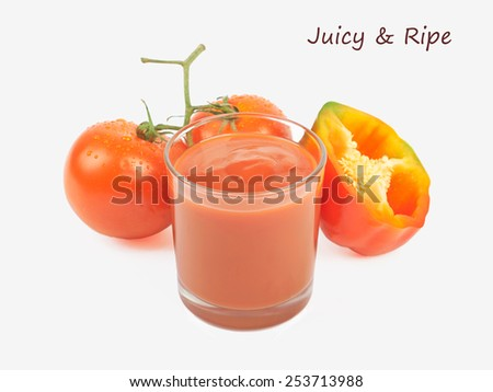 Drinking glass with tomato juice with ripe fresh tomato  and pepper near isolated on the white background - stock photo