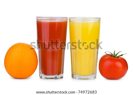 Drinking glasses with tomato and orange juice and tomato & orange near  isolated on the white background