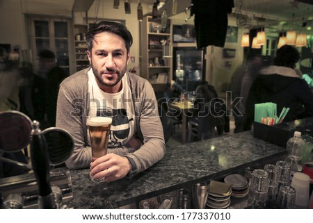 drinking in the pub - stock photo