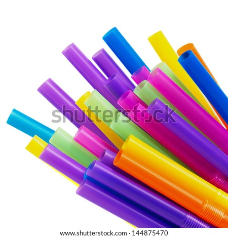 drinking straw isolated on white - stock photo