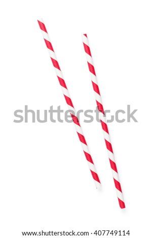 Drinking straws. Isolated on white background - stock photo
