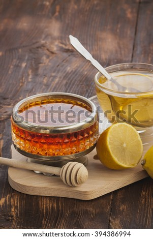 Drinking tea with honey in the village.Selective focus - stock photo