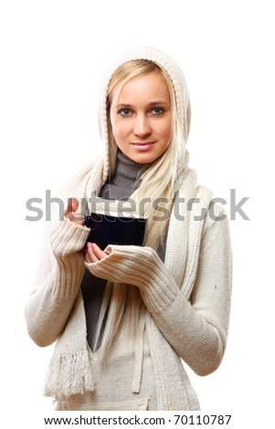 Drinking tea young beautiful woman with big cup - stock photo