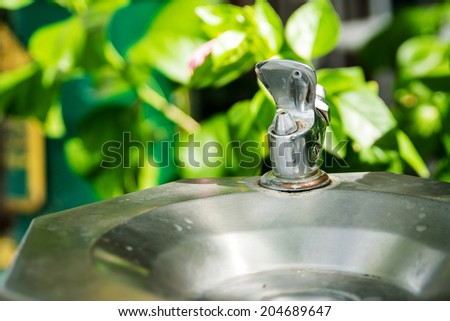 Drinking water faucet in the park