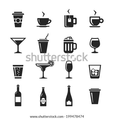 Drinks and beverages icon set. Simplus series. Raster illustration - stock photo