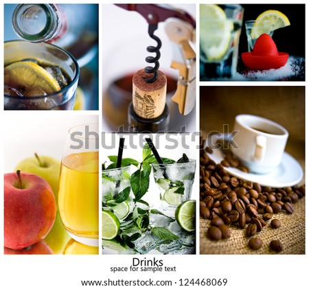 drinks collage from several image with space for sample text