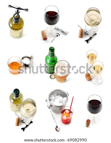 Drinks collection isolated over white - stock photo