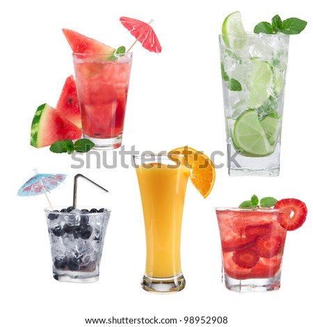 Drinks collection over white - stock photo