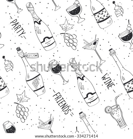Drinks doodle pattern. Hand drawn beverages seamless background. Doodle snacks and drinks black on white. Beverages, glass, bottles, grapes, snacks. Wine, friend, party. - stock photo