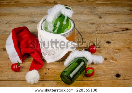Drinks for a  kid Christmas party resembling champagne - stock photo