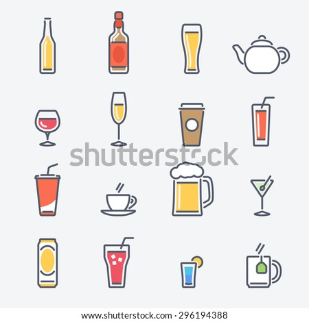 Drinks Icons Set. Trendy Thin Line Design with Flat Elements. Raster Copy. - stock photo