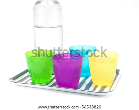 Drinks on a serving tray isolated against a white background