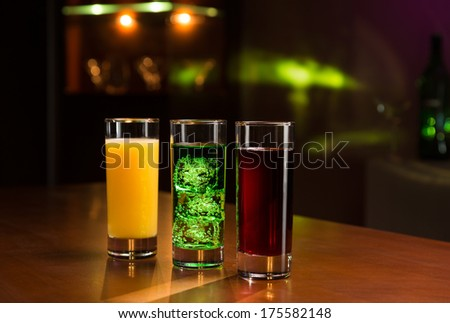 Drinks on bar counter - stock photo