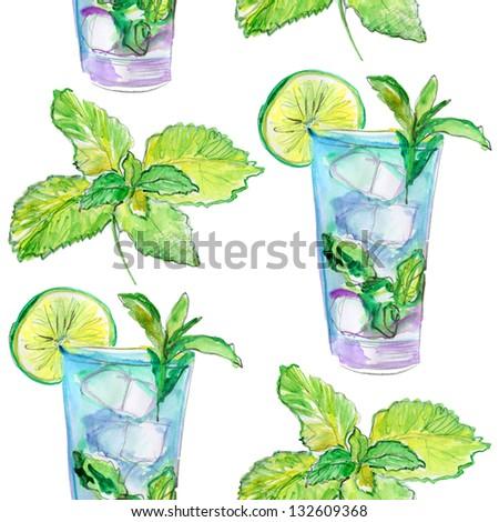 Drinks pattern. watercolor. - stock photo