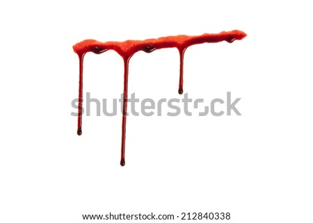 Dripping blood isolated on white - stock photo
