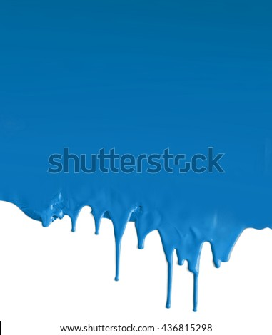 Dripping blue paint on white background - stock photo