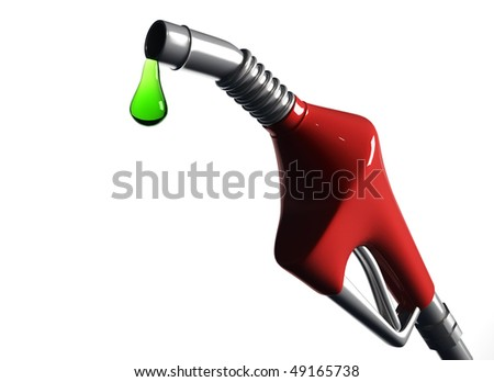 Dripping gas pump nozzle over white - 3d render illustration