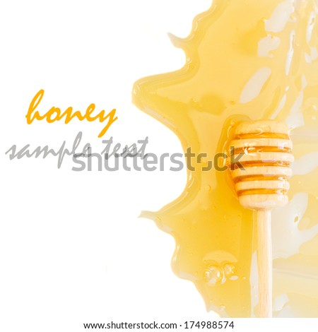 dripping honey and honey dipper border  isolated on white background - stock photo