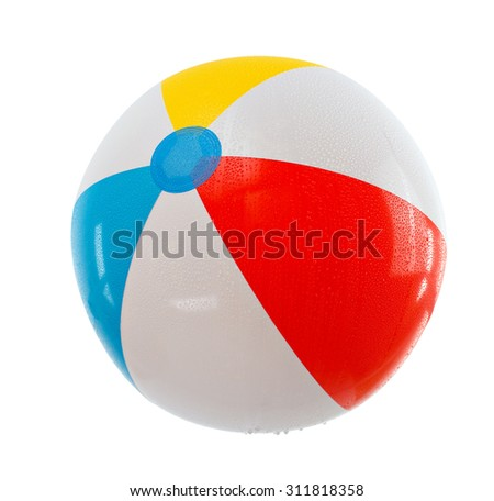 dripping multicolored beach ball. Isolation.series of images