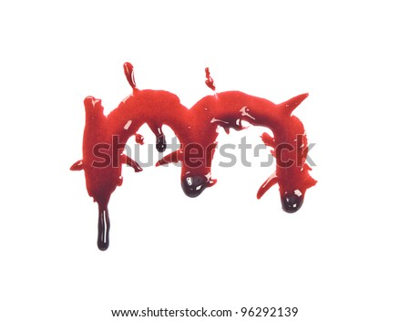Dripping slashed blood fonts the letter lower case m - stock photo