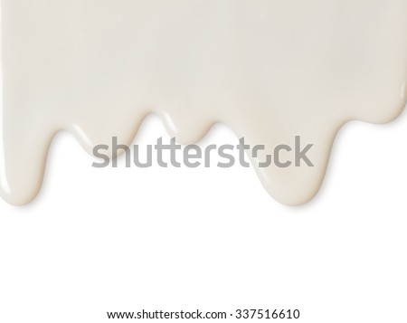 Dripping white milk, cream, paint yogurt on white background - stock photo