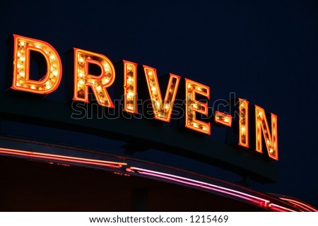 Drive-In Neon Sign - stock photo