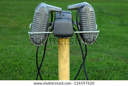 Drive-in Theater Speakers - stock photo