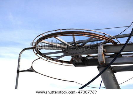 Drive wheels of a ski lift in the Jaworzyna Krynicka. Poland
