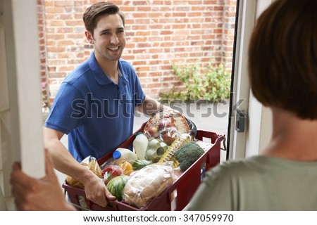 Driver Delivering Online Grocery Shopping Order - stock photo