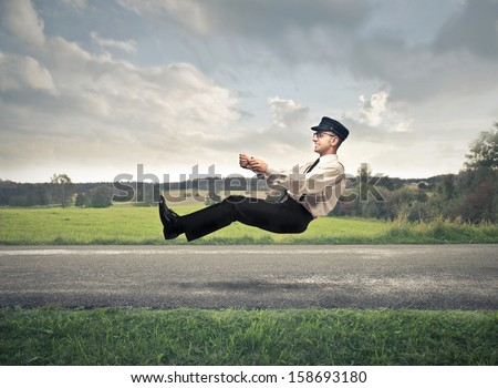 driver driving on the road without car - stock photo