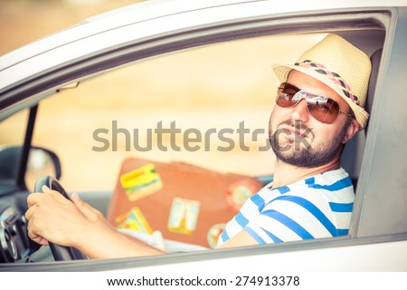 Driver man on vacation. Summer holiday and car travel concept - stock photo