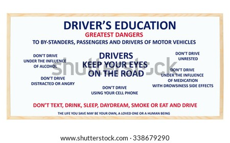 Driver's Education Greatest Dangers to Bystanders, Passengers and Drivers of Motor Vehicles: Don't Text and Drive, Don't Drink & Drive, Don't Drive Unrested, Don't Drive Drowsy. Whiteboard - stock photo