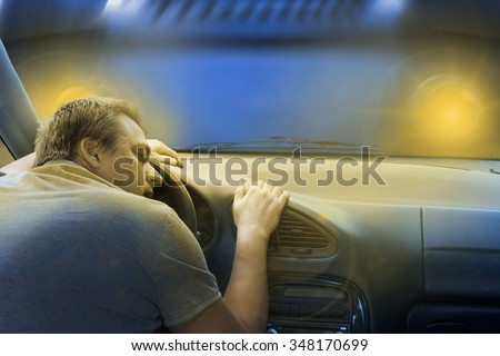 Driver sleeping in the car just before a frontal crash with a lorry.